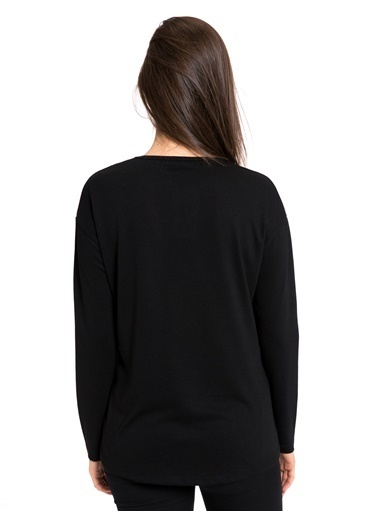 LC Waikiki Uzun Kollu Baskılı Bluz Siyah